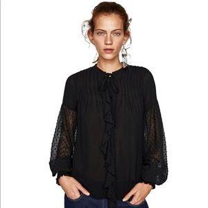 ZARA | NWT swiss dot peasant blouse